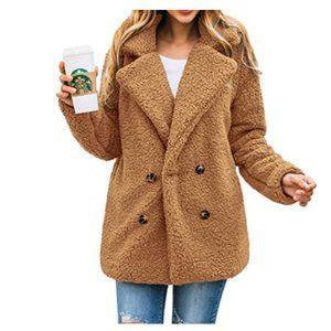Women's Fashion Long Sleeve Lapel Zip Up Faux Coat